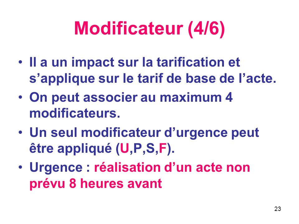 23 Modificateur (4/6) •Il a un impact sur la tarification et s'applique sur le tarif de base de l'acte. •On peut associer au maximum 4 modificateurs.