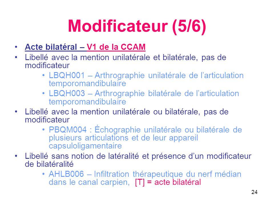 24 Modificateur (5/6) •Acte bilatéral – V1 de la CCAM •Libellé avec la mention unilatérale et bilatérale, pas de modificateur •LBQH001 – Arthrographie