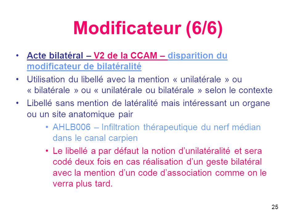 25 Modificateur (6/6) •Acte bilatéral – V2 de la CCAM – disparition du modificateur de bilatéralité •Utilisation du libellé avec la mention « unilatér