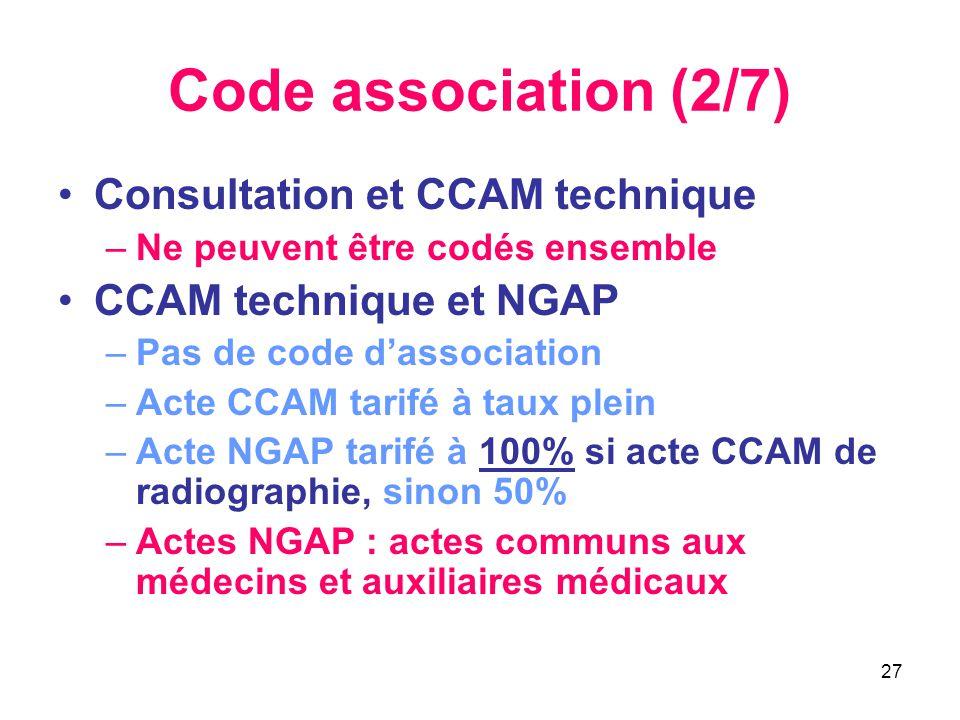 27 Code association (2/7) •Consultation et CCAM technique –Ne peuvent être codés ensemble •CCAM technique et NGAP –Pas de code d'association –Acte CCA