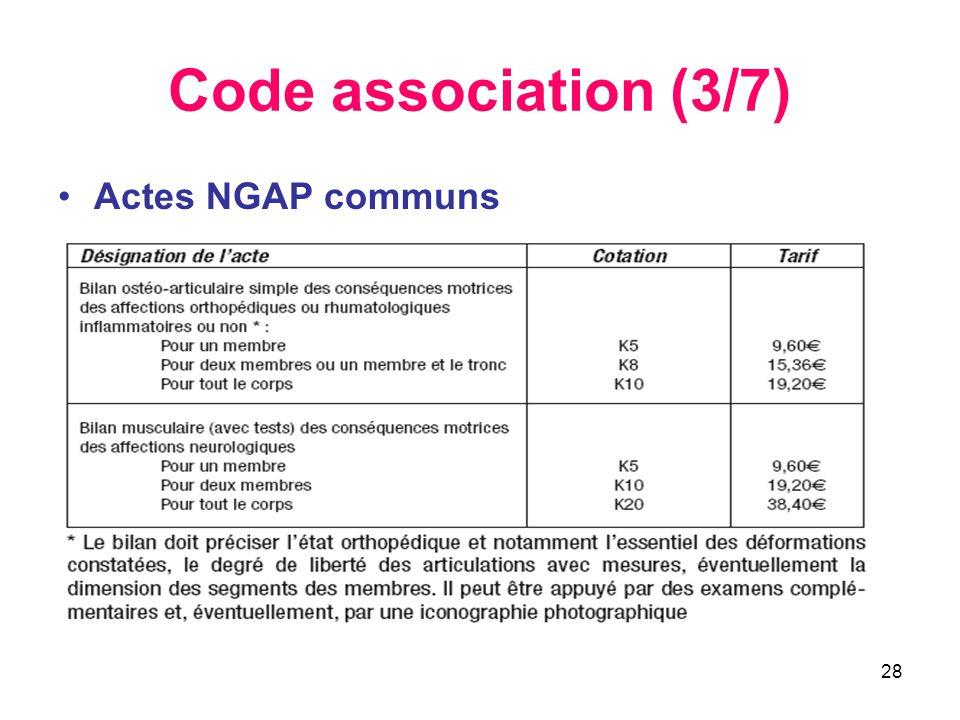 28 Code association (3/7) •Actes NGAP communs