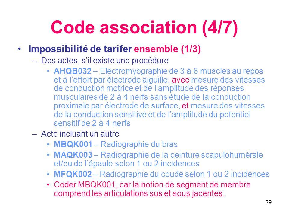 29 Code association (4/7) •Impossibilité de tarifer ensemble (1/3) –Des actes, s'il existe une procédure •AHQB032 – Electromyographie de 3 à 6 muscles