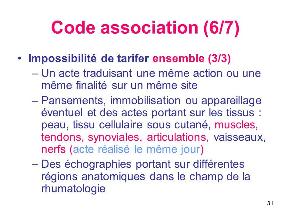 31 Code association (6/7) •Impossibilité de tarifer ensemble (3/3) –Un acte traduisant une même action ou une même finalité sur un même site –Pansemen