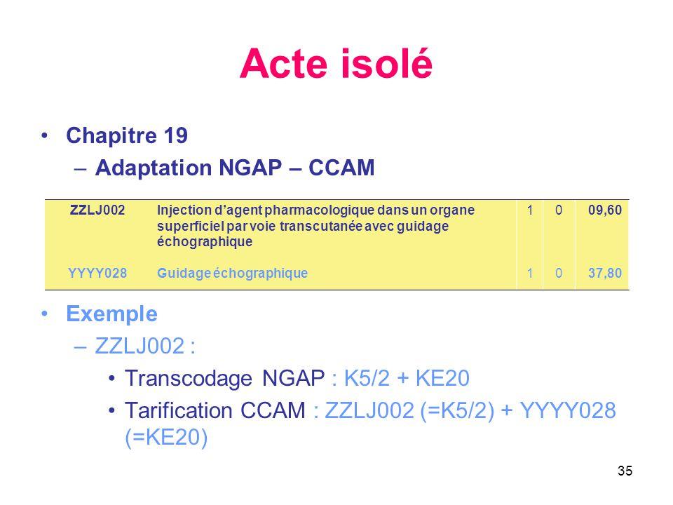 35 Acte isolé •Chapitre 19 –Adaptation NGAP – CCAM •Exemple –ZZLJ002 : •Transcodage NGAP : K5/2 + KE20 •Tarification CCAM : ZZLJ002 (=K5/2) + YYYY028 (=KE20) ZZLJ002 YYYY028 Injection d'agent pharmacologique dans un organe superficiel par voie transcutanée avec guidage échographique Guidage échographique 1111 0000 09,60 37,80