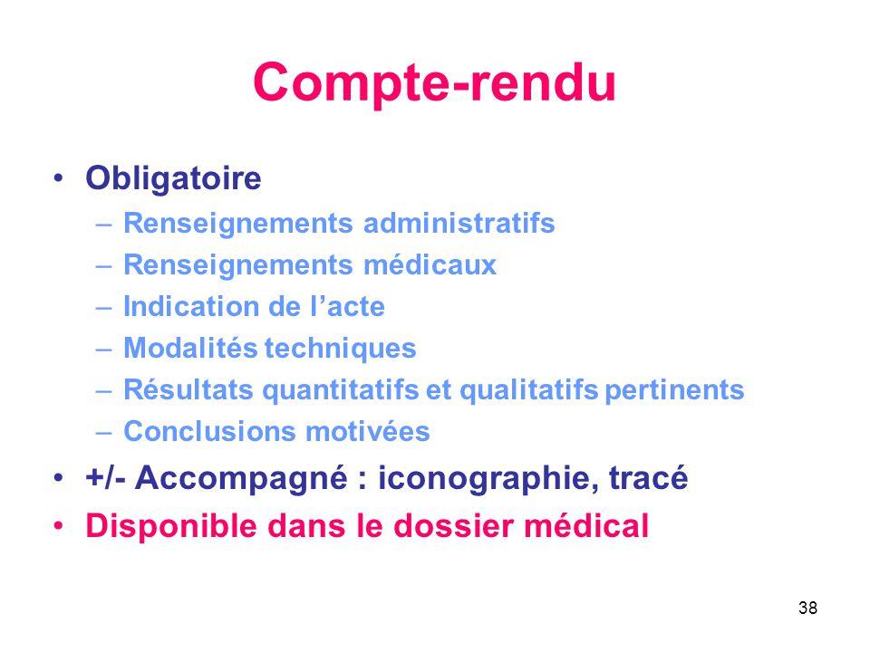 38 Compte-rendu •Obligatoire –Renseignements administratifs –Renseignements médicaux –Indication de l'acte –Modalités techniques –Résultats quantitati