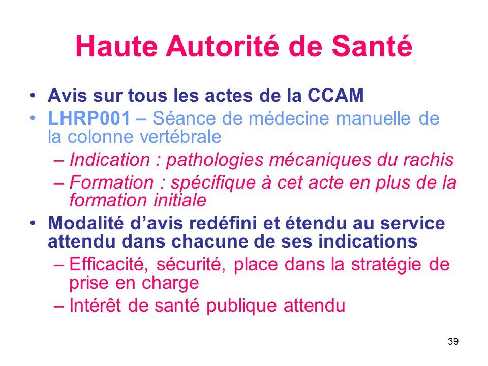 39 Haute Autorité de Santé •Avis sur tous les actes de la CCAM •LHRP001 – Séance de médecine manuelle de la colonne vertébrale –Indication : pathologi