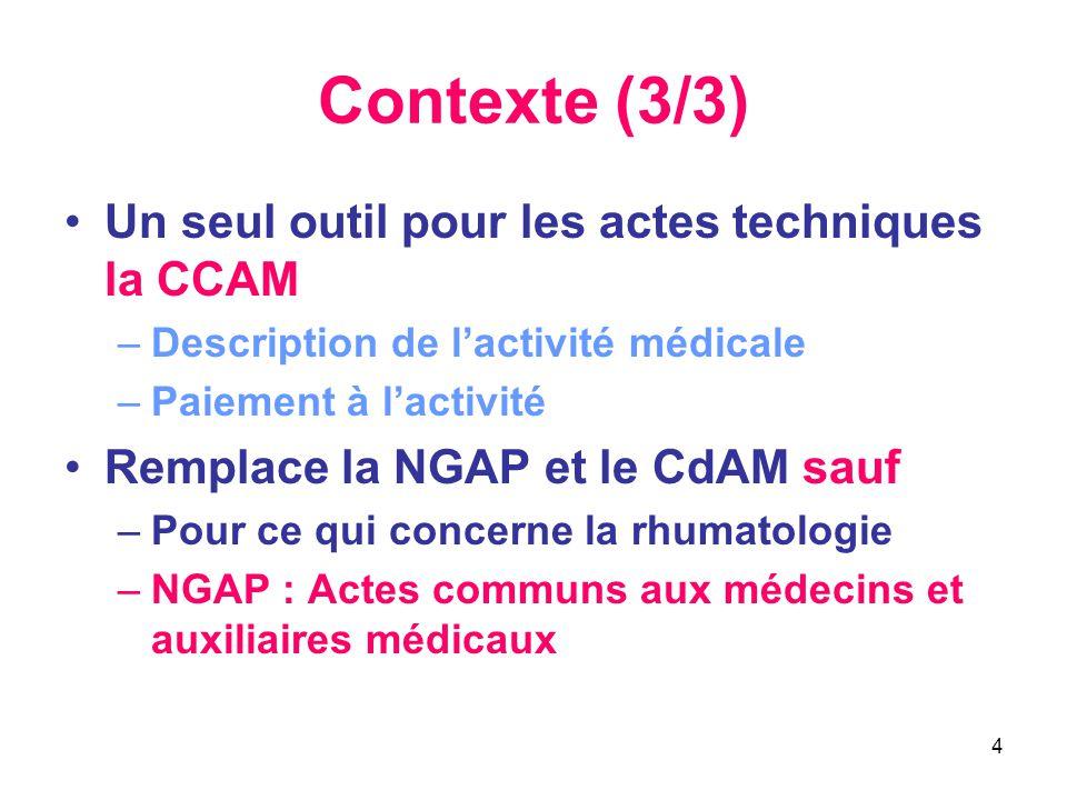 4 Contexte (3/3) •Un seul outil pour les actes techniques la CCAM –Description de l'activité médicale –Paiement à l'activité •Remplace la NGAP et le C