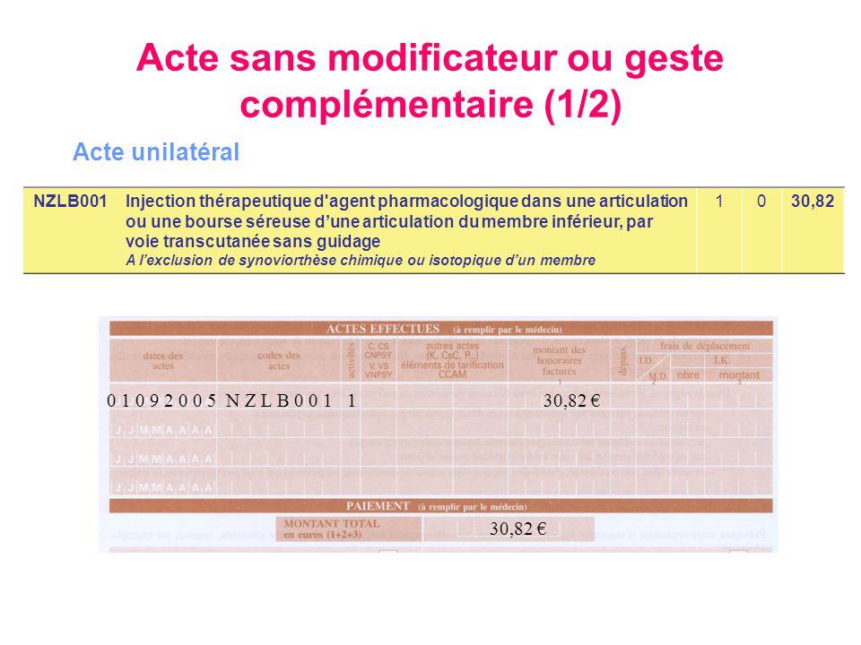 0 1 0 9 2 0 0 5 N Z L B 0 0 1 1 30,82 € 30,82 € NZLB001Injection thérapeutique d'agent pharmacologique dans une articulation ou une bourse séreuse d'u