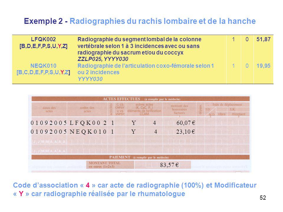 52 Exemple 2 - Radiographies du rachis lombaire et de la hanche 0 1 0 9 2 0 0 5 N E Q K 0 1 0 1 Y 4 23,10 € 83,57 € 0 1 0 9 2 0 0 5 L F Q K 0 0 2 1 Y
