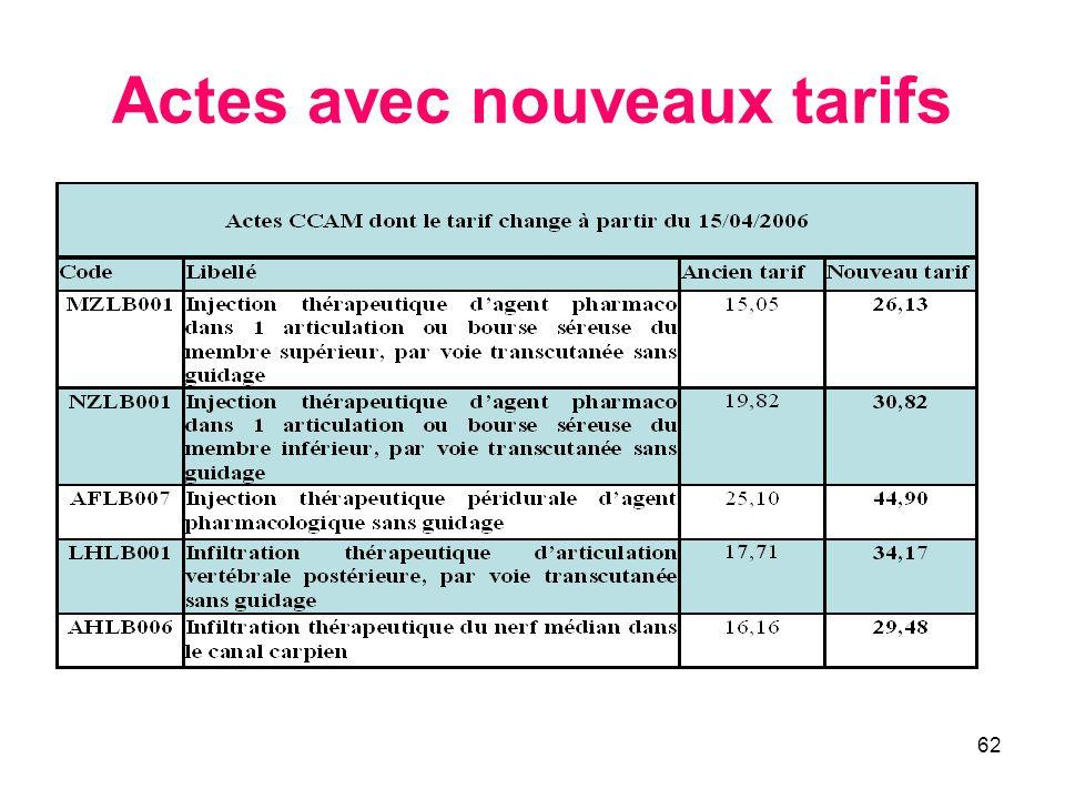 62 Actes avec nouveaux tarifs