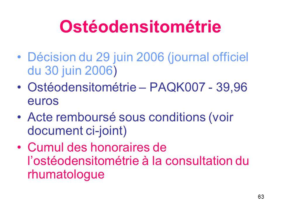 63 Ostéodensitométrie •Décision du 29 juin 2006 (journal officiel du 30 juin 2006) •Ostéodensitométrie – PAQK007 - 39,96 euros •Acte remboursé sous co