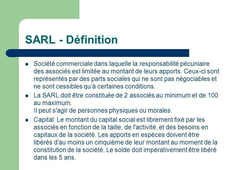 SARL - Définition  Société commerciale dans laquelle la responsabilité pécuniaire des associés est limitée au montant de leurs apports.