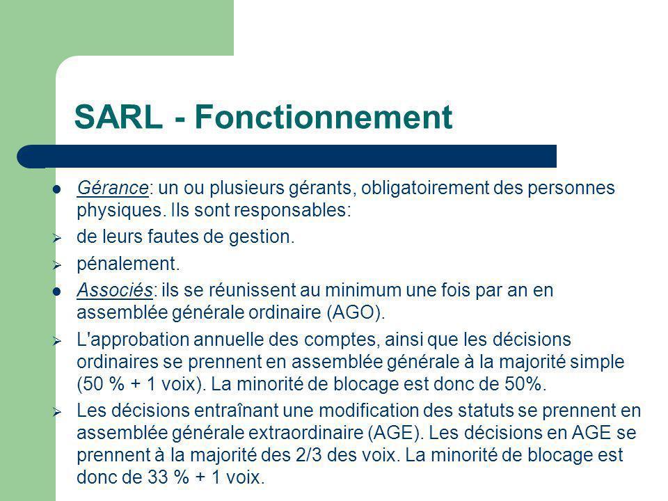 SARL - Fonctionnement  Gérance: un ou plusieurs gérants, obligatoirement des personnes physiques.