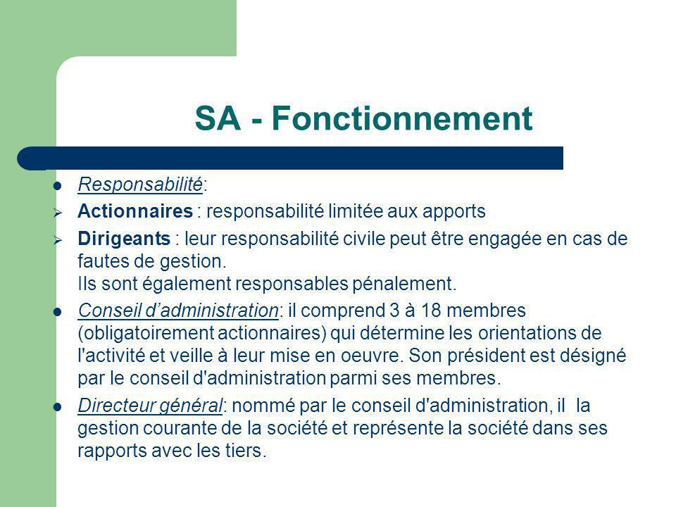 SA - Fonctionnement  Responsabilité:  Actionnaires : responsabilité limitée aux apports  Dirigeants : leur responsabilité civile peut être engagée en cas de fautes de gestion.
