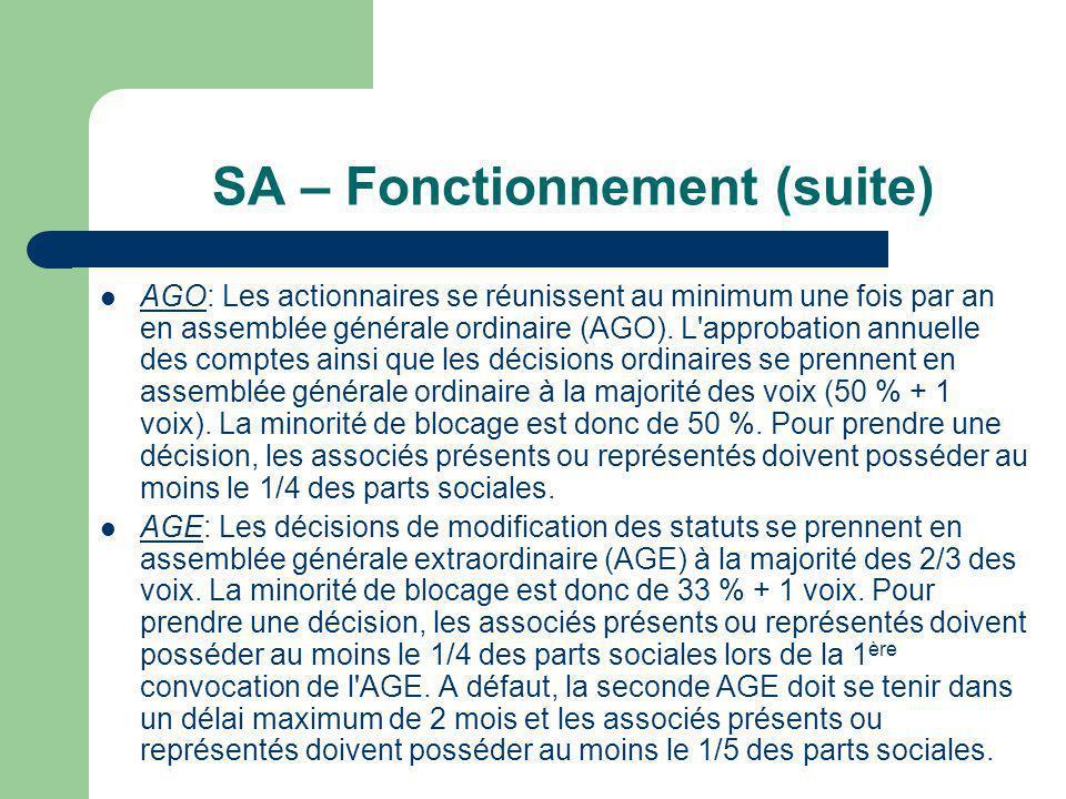 SA – Fonctionnement (suite)  AGO: Les actionnaires se réunissent au minimum une fois par an en assemblée générale ordinaire (AGO).