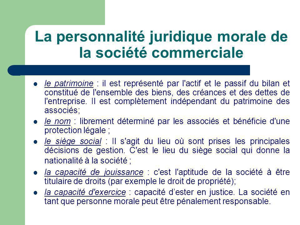 La personnalité juridique morale de la société commerciale  le patrimoine : il est représenté par l actif et le passif du bilan et constitué de l ensemble des biens, des créances et des dettes de l entreprise.