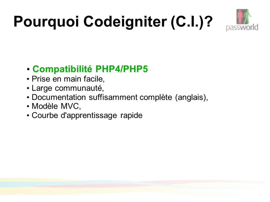 Pourquoi Codeigniter (C.I.).
