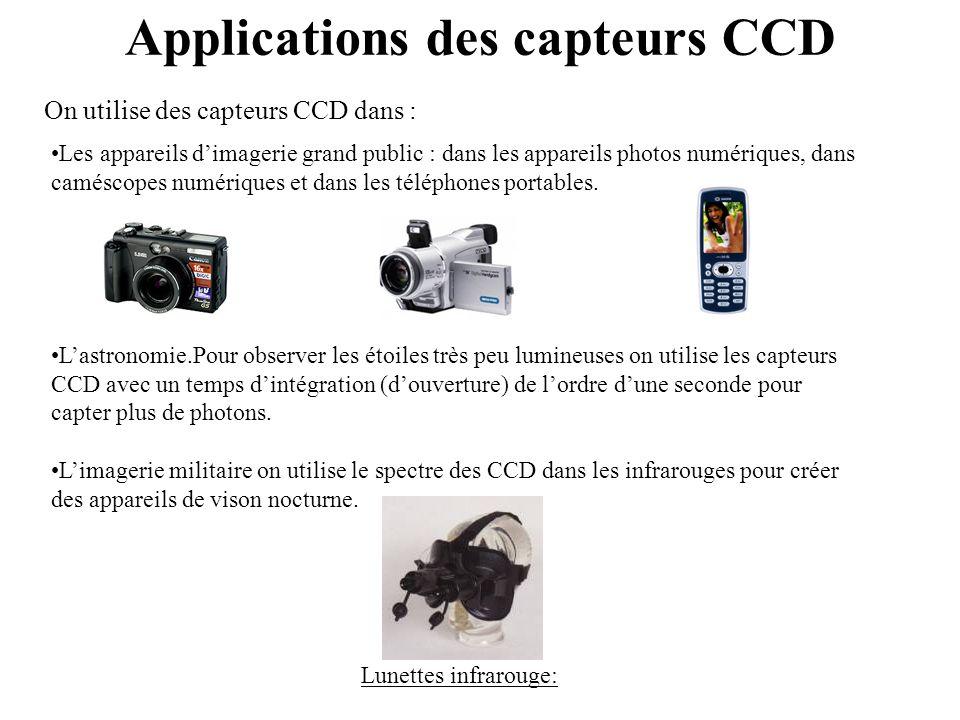 Applications des capteurs CCD •Les appareils d'imagerie grand public : dans les appareils photos numériques, dans caméscopes numériques et dans les té