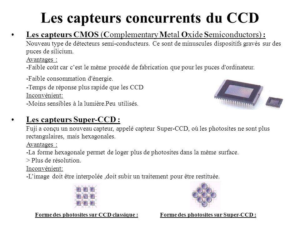 Les capteurs concurrents du CCD •Les capteurs CMOS (Complementary Metal Oxide Semiconductors) : Nouveau type de détecteurs semi-conducteurs. Ce sont d