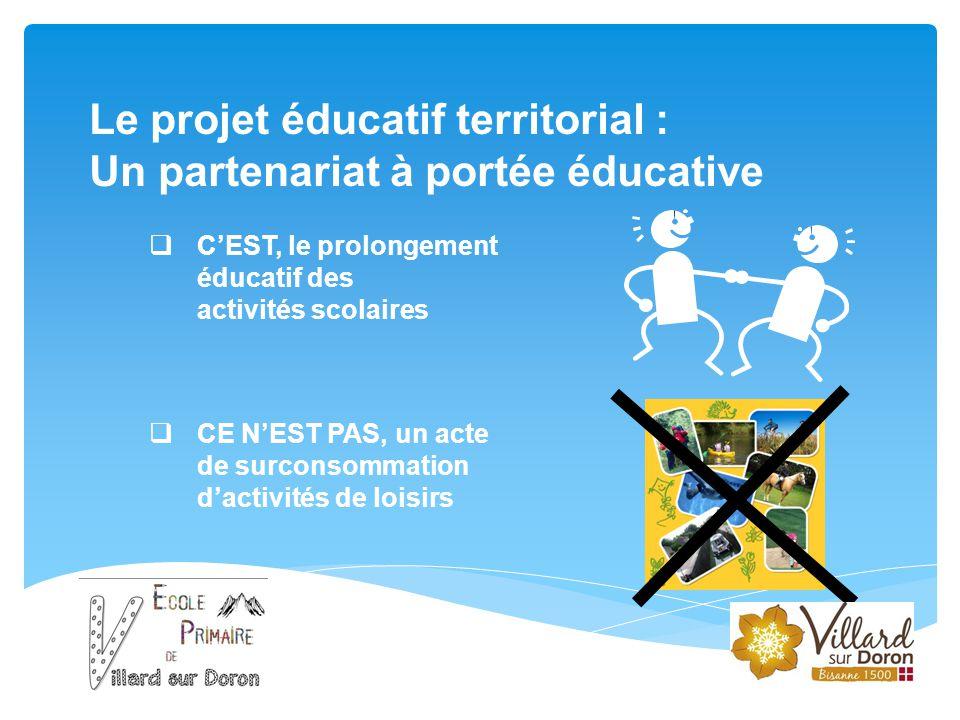 Le projet éducatif territorial : Un partenariat à portée éducative  C'EST, le prolongement éducatif des activités scolaires  CE N'EST PAS, un acte d
