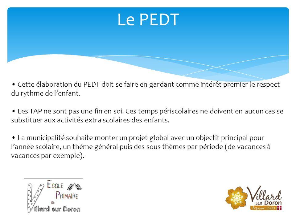 Le PEDT • Cette élaboration du PEDT doit se faire en gardant comme intérêt premier le respect du rythme de l'enfant. • Les TAP ne sont pas une fin en
