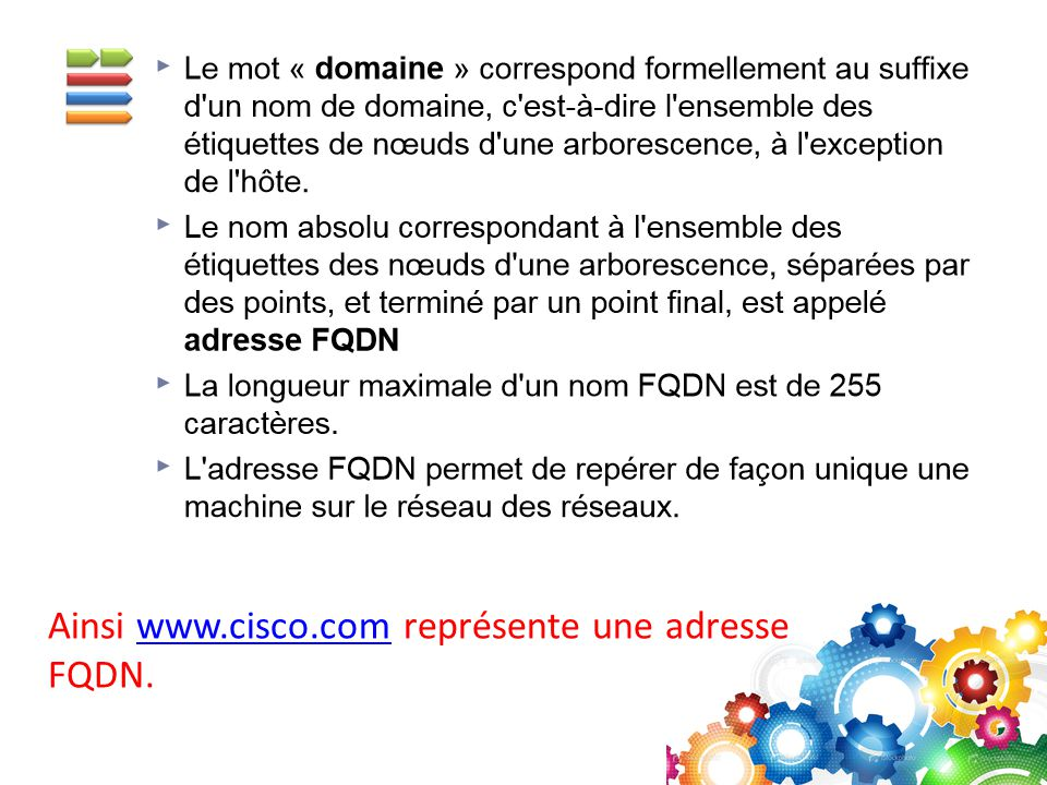 Ainsi www.cisco.com représente une adresse FQDN.www.cisco.com