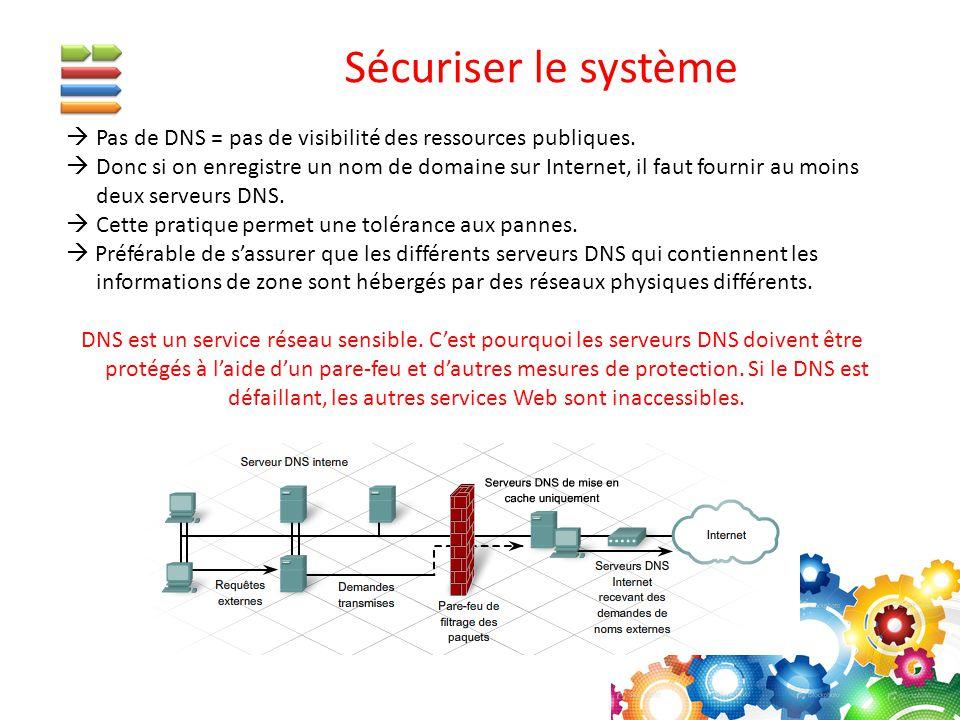  Pas de DNS = pas de visibilité des ressources publiques.  Donc si on enregistre un nom de domaine sur Internet, il faut fournir au moins deux serve