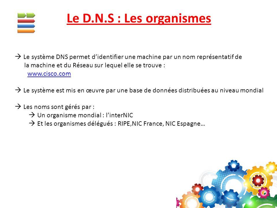  Le système DNS permet d'identifier une machine par un nom représentatif de la machine et du Réseau sur lequel elle se trouve : www.cisco.com  Le sy
