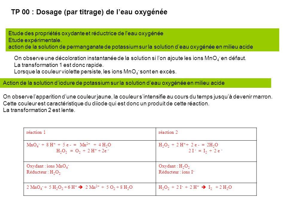 TP 00 : Dosage (par titrage) de l'eau oxygénée Etude des propriétés oxydante et réductrice de l eau oxygénée Etude expérimentale.