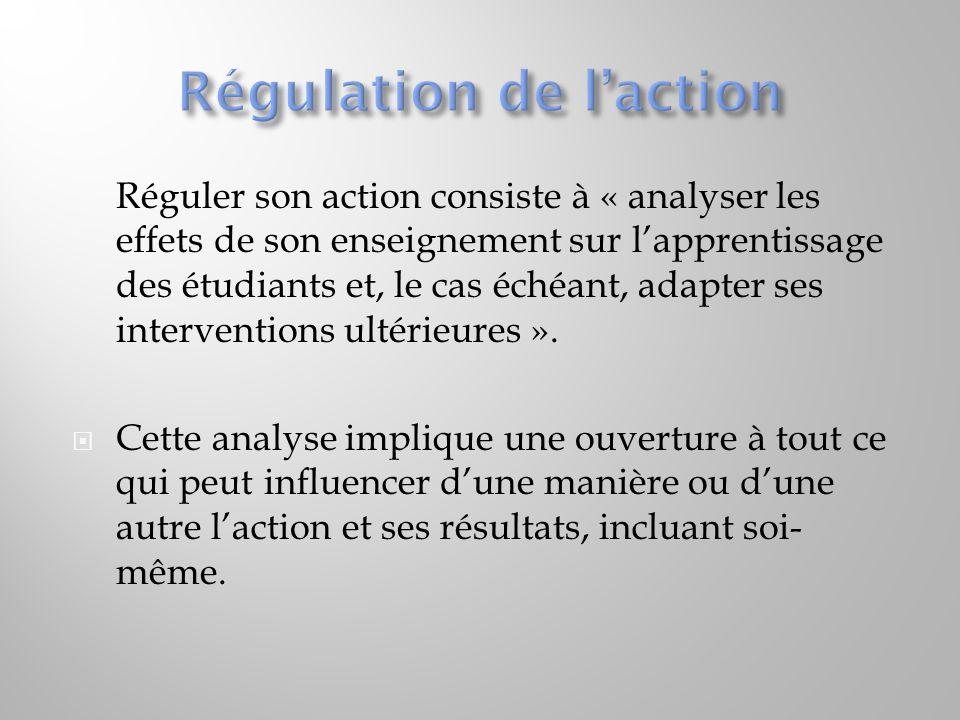  Réguler son action consiste à « analyser les effets de son enseignement sur l'apprentissage des étudiants et, le cas échéant, adapter ses interventi