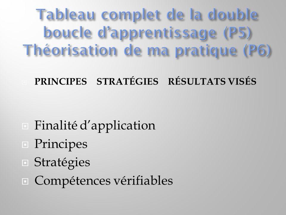  PRINCIPES STRATÉGIES RÉSULTATS VISÉS  Finalité d'application  Principes  Stratégies  Compétences vérifiables