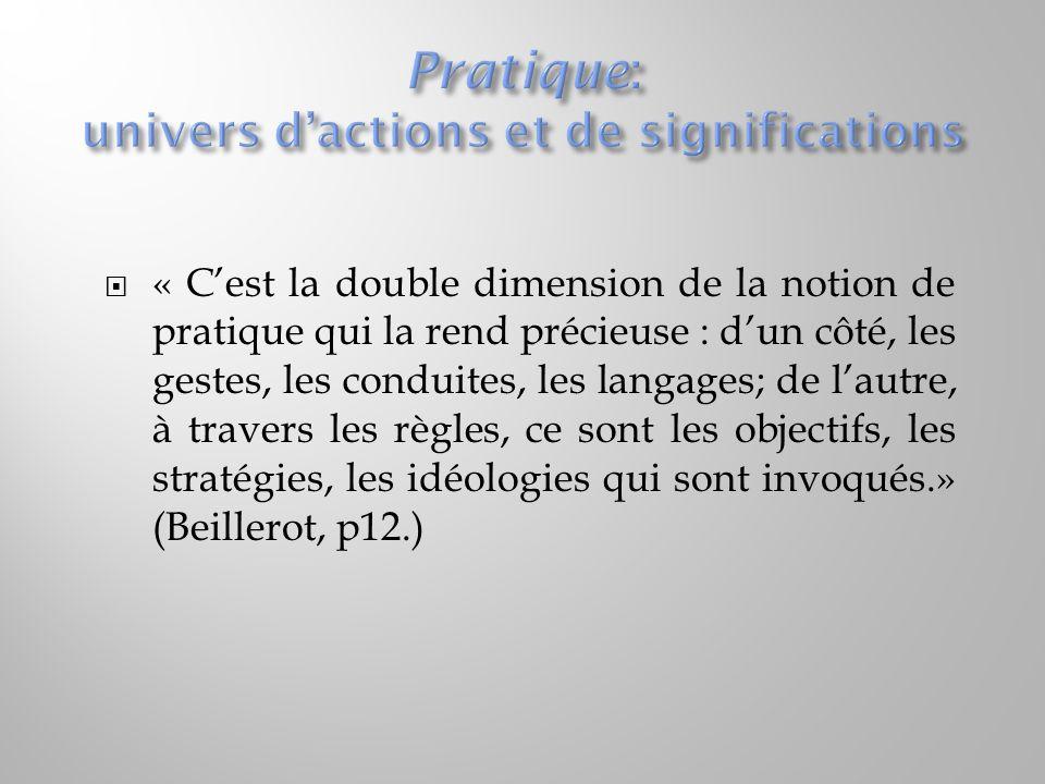  « C'est la double dimension de la notion de pratique qui la rend précieuse : d'un côté, les gestes, les conduites, les langages; de l'autre, à trave