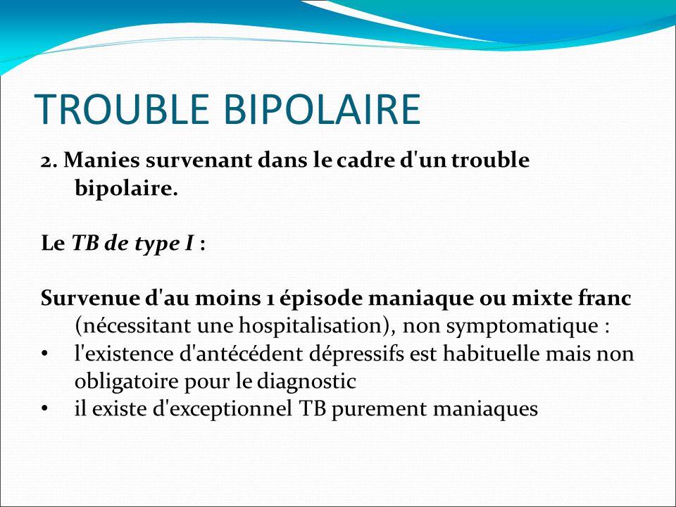 TROUBLE BIPOLAIRE 2. Manies survenant dans le cadre d un trouble bipolaire.