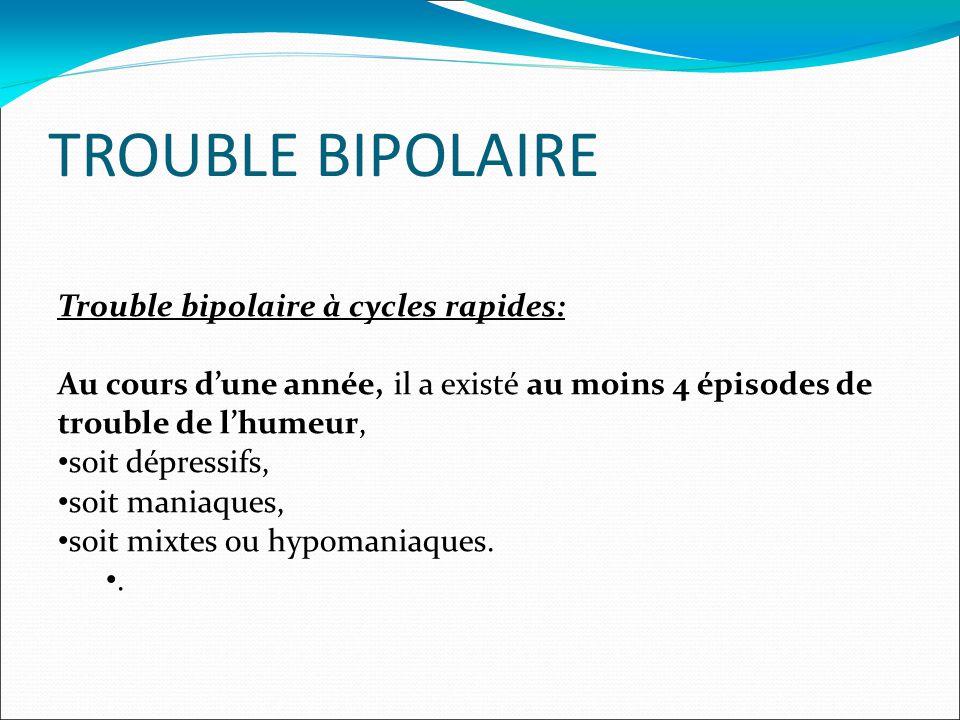 TROUBLE BIPOLAIRE Trouble bipolaire à cycles rapides: Au cours d'une année, il a existé au moins 4 épisodes de trouble de l'humeur, • soit dépressifs, • soit maniaques, • soit mixtes ou hypomaniaques.