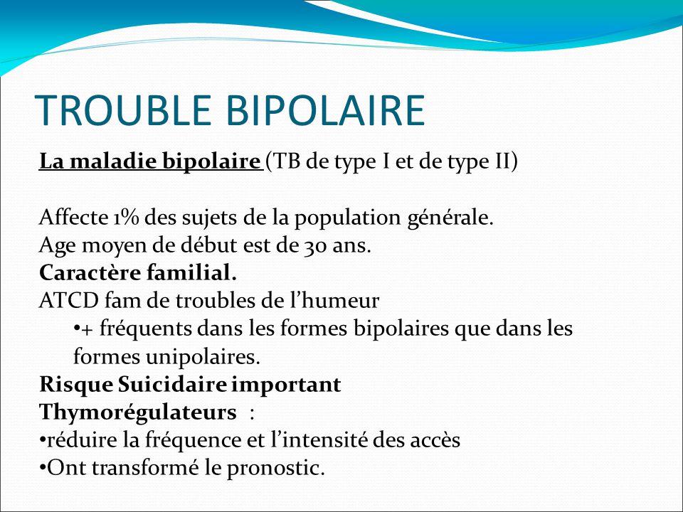 TROUBLE BIPOLAIRE La maladie bipolaire (TB de type I et de type II) Affecte 1% des sujets de la population générale.
