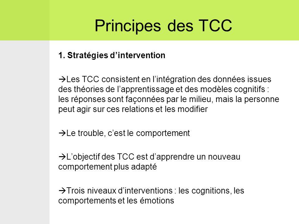 1. Stratégies d'intervention  Les TCC consistent en l'intégration des données issues des théories de l'apprentissage et des modèles cognitifs : les r
