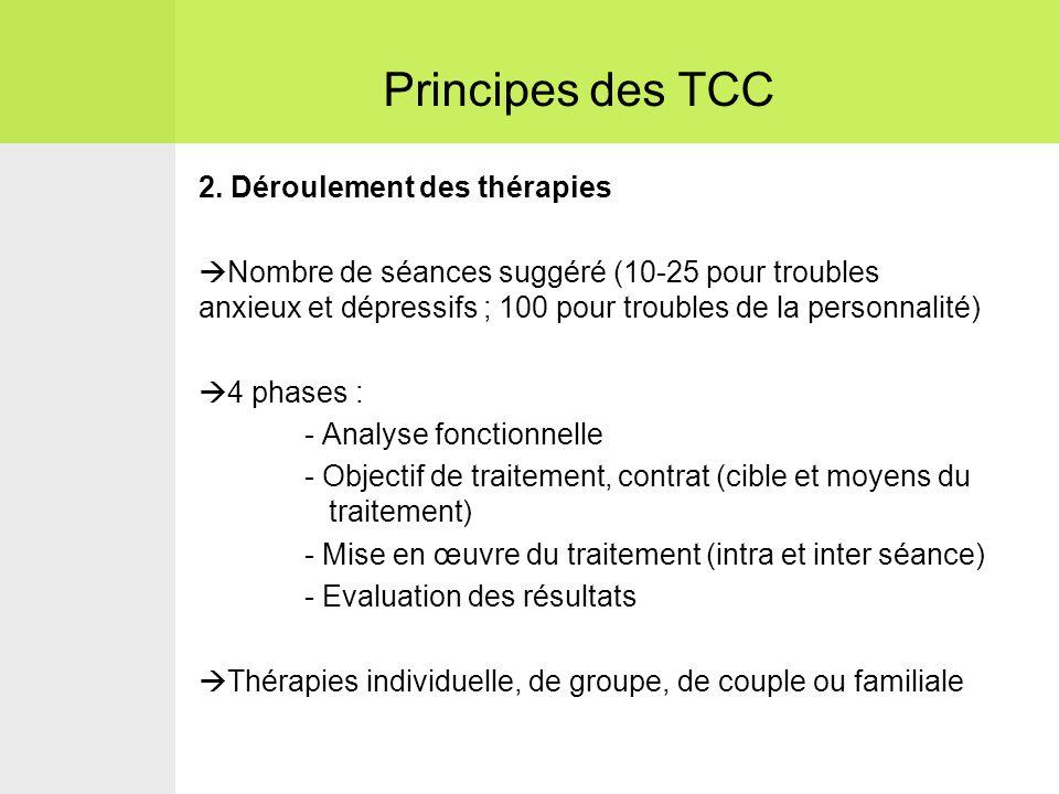 2. Déroulement des thérapies  Nombre de séances suggéré (10-25 pour troubles anxieux et dépressifs ; 100 pour troubles de la personnalité)  4 phases