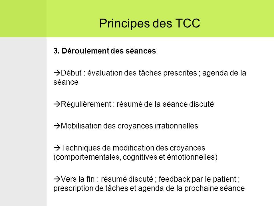 3. Déroulement des séances  Début : évaluation des tâches prescrites ; agenda de la séance  Régulièrement : résumé de la séance discuté  Mobilisati