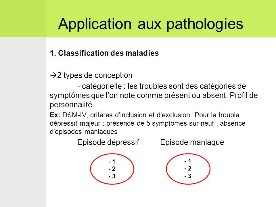 1. Classification des maladies  2 types de conception - catégorielle : les troubles sont des catégories de symptômes que l'on note comme présent ou a