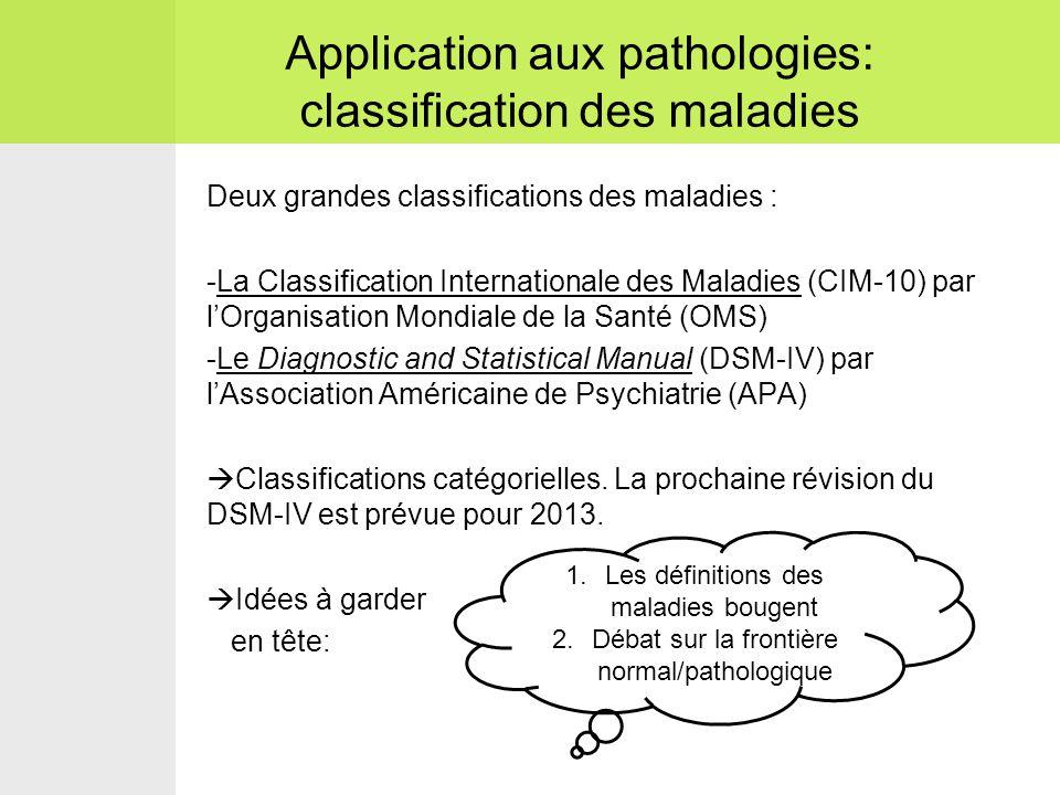 Deux grandes classifications des maladies : -La Classification Internationale des Maladies (CIM-10) par l'Organisation Mondiale de la Santé (OMS) -Le Diagnostic and Statistical Manual (DSM-IV) par l'Association Américaine de Psychiatrie (APA)  Classifications catégorielles.