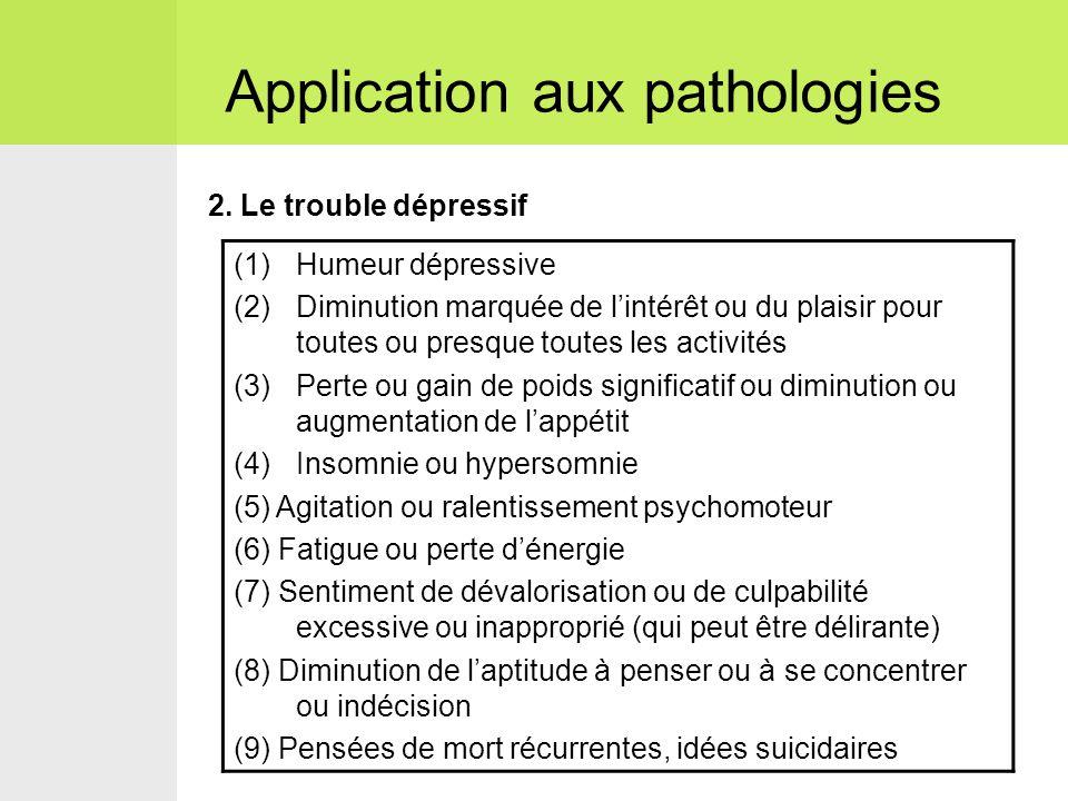 2. Le trouble dépressif Application aux pathologies (1)Humeur dépressive (2)Diminution marquée de l'intérêt ou du plaisir pour toutes ou presque toute