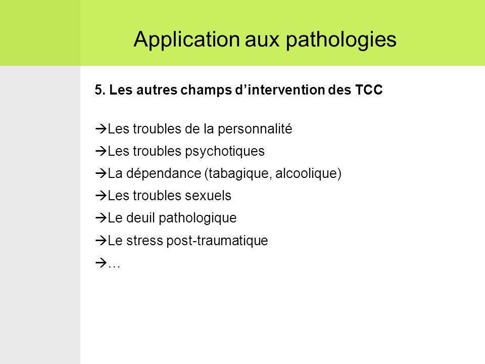 5. Les autres champs d'intervention des TCC  Les troubles de la personnalité  Les troubles psychotiques  La dépendance (tabagique, alcoolique)  Le