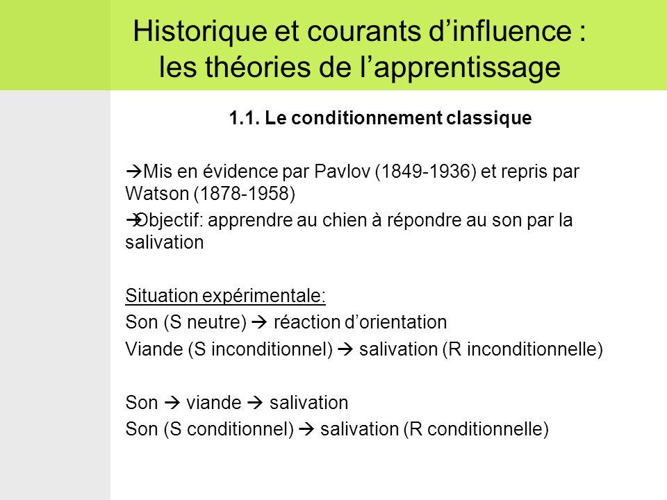 1.1. Le conditionnement classique  Mis en évidence par Pavlov (1849-1936) et repris par Watson (1878-1958)  Objectif: apprendre au chien à répondre