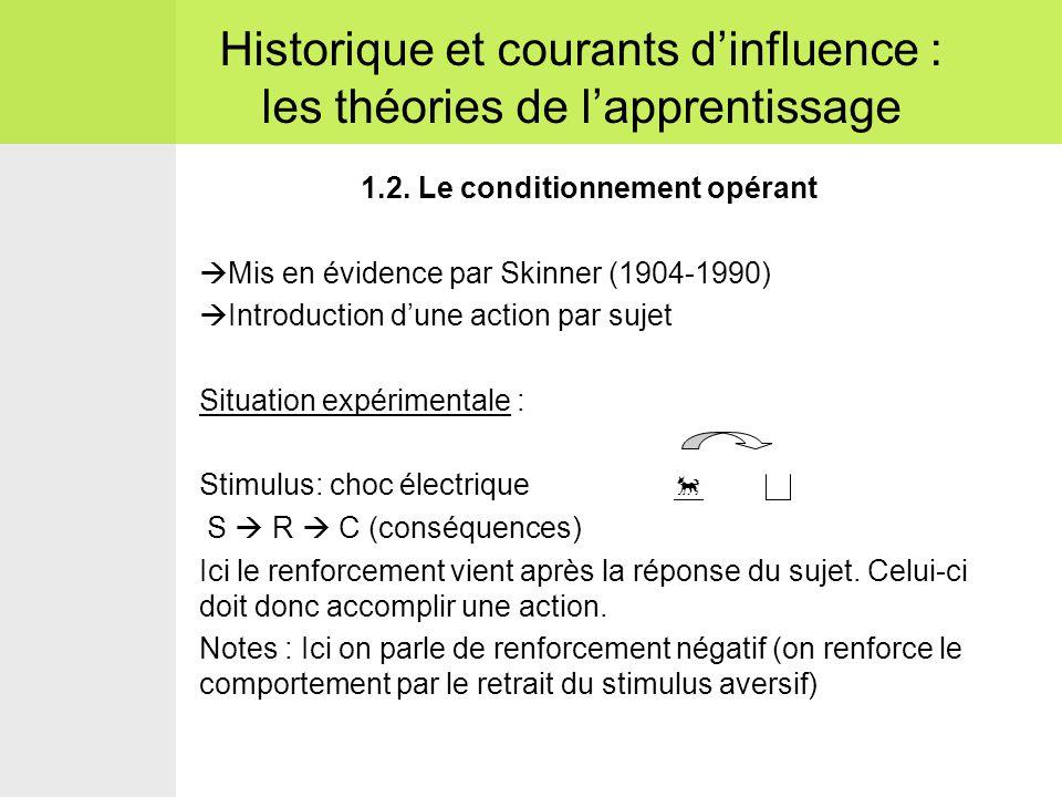 1.2. Le conditionnement opérant  Mis en évidence par Skinner (1904-1990)  Introduction d'une action par sujet Situation expérimentale : Stimulus: ch