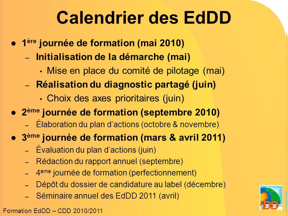 Calendrier des EdDD  1 ère journée de formation (mai 2010) – Initialisation de la démarche (mai) • Mise en place du comité de pilotage (mai) – Réalisation du diagnostic partagé (juin) • Choix des axes prioritaires (juin)  2 ème journée de formation (septembre 2010) – Élaboration du plan d'actions (octobre & novembre)  3 ème journée de formation (mars & avril 2011) – Évaluation du plan d'actions (juin) – Rédaction du rapport annuel (septembre) – 4 ème journée de formation (perfectionnement) – Dépôt du dossier de candidature au label (décembre) – Séminaire annuel des EdDD 2011 (avril) Formation EdDD – CDD 2010/2011