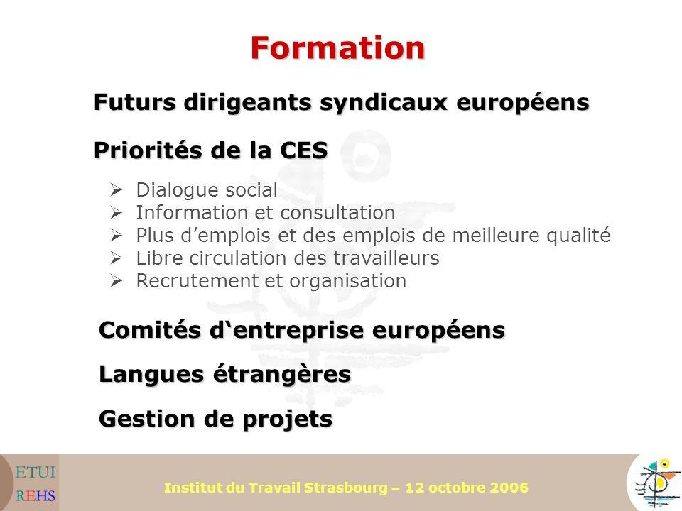 Institut du Travail Strasbourg – 12 octobre 2006 Gestion de projets Formation Priorités de la CES Futurs dirigeants syndicaux européens Langues étrang