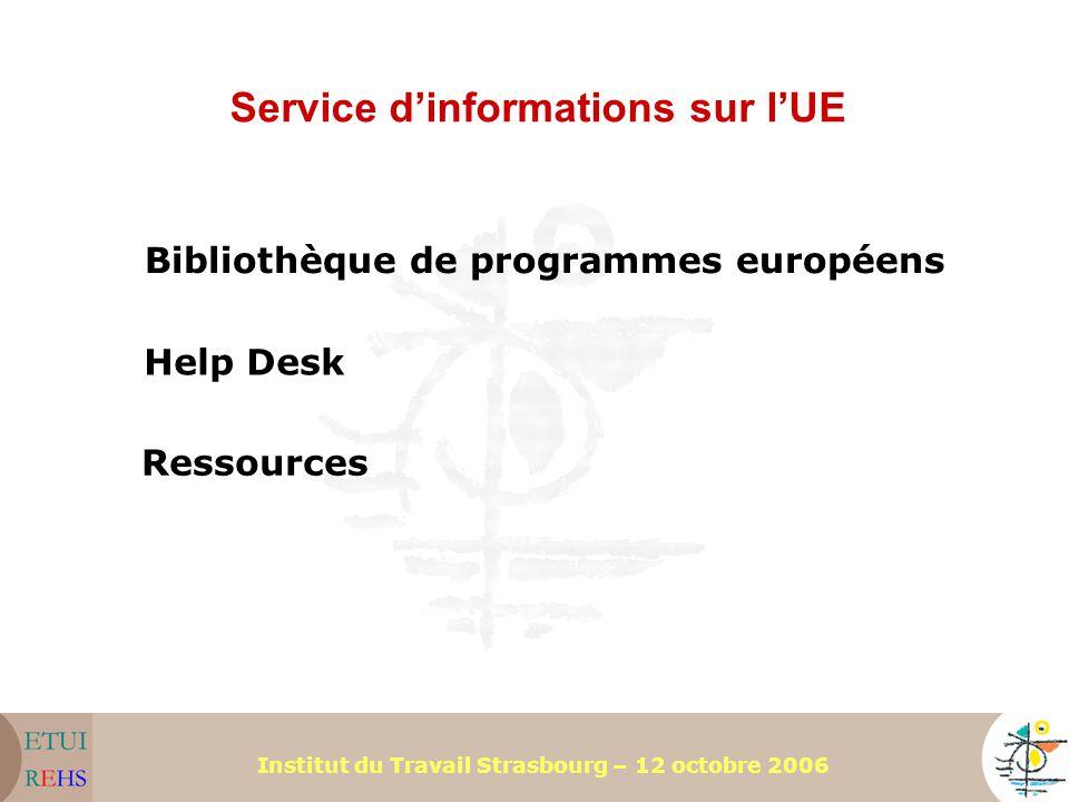 Institut du Travail Strasbourg – 12 octobre 2006 Service d'informations sur l'UE Help Desk Bibliothèque de programmes européens Ressources