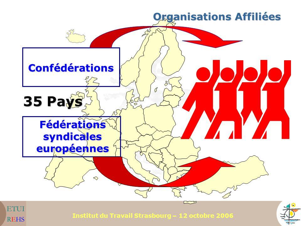 Institut du Travail Strasbourg – 12 octobre 2006 Organisations Affiliées Confédérations Fédérations syndicales européennes 35 Pays