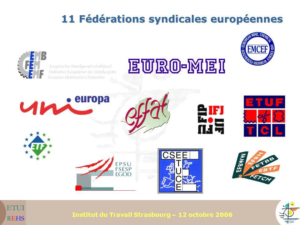 Institut du Travail Strasbourg – 12 octobre 2006 11 Fédérations syndicales européennes