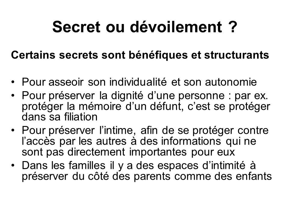 Secret ou dévoilement ? Certains secrets sont bénéfiques et structurants •Pour asseoir son individualité et son autonomie •Pour préserver la dignité d